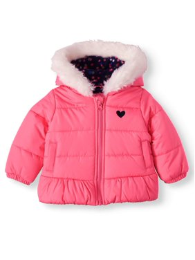 Child of Mine by Carter's Baby Toddler Girl Faux Fur Hooded Bubble Jacket Winter Coat