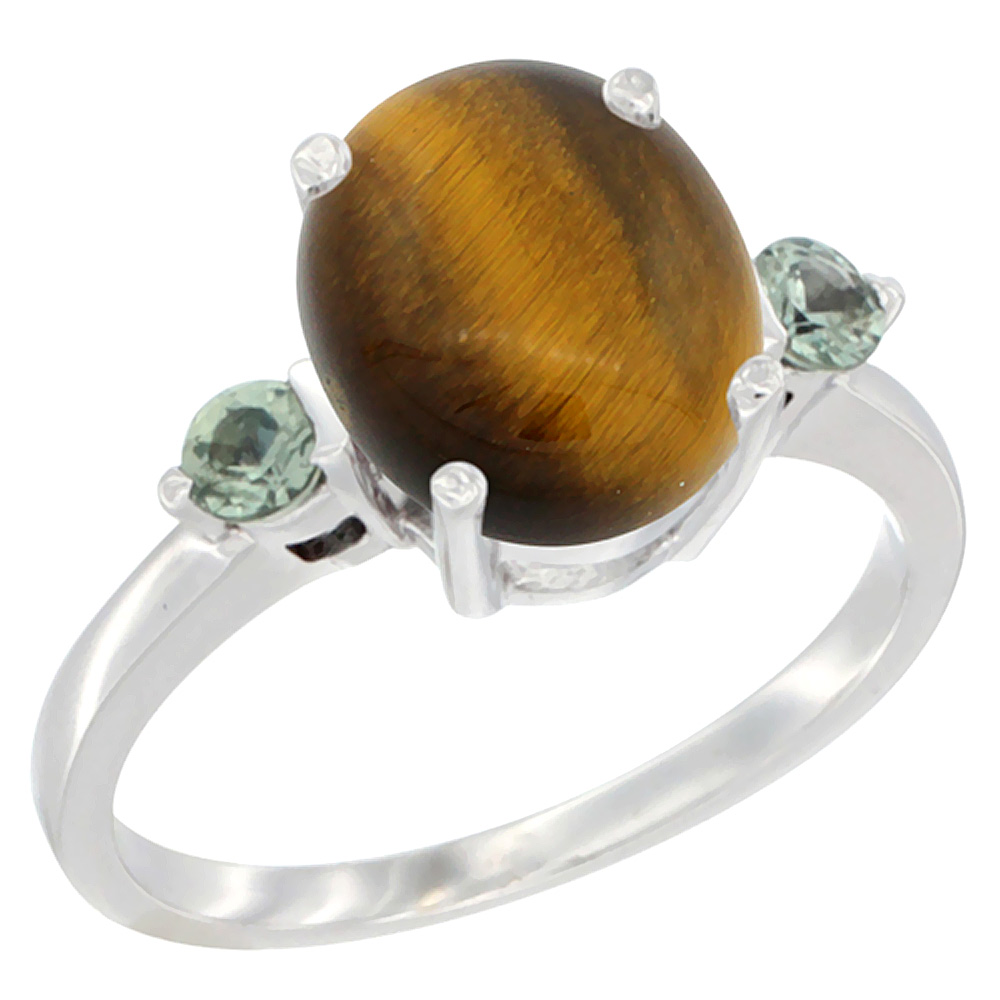 14K White Gold Natural Tiger Eye Ring Oval 10x8mm Green Sapphire Accent, sizes 5 10 by WorldJewels