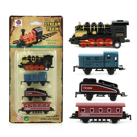 4pcs Children Alloy Simulation Steam Train Creative Mini Car Models Toys Gifts for Kids