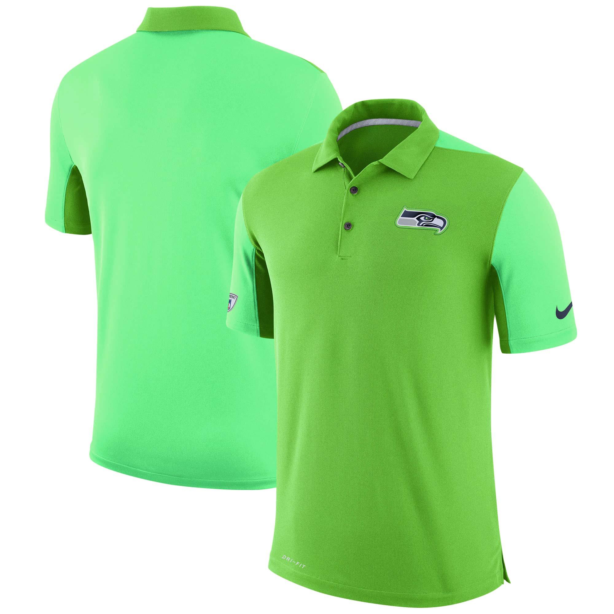 Seattle Seahawks Nike Sideline Team Issue Logo Performance Polo - Neon Green