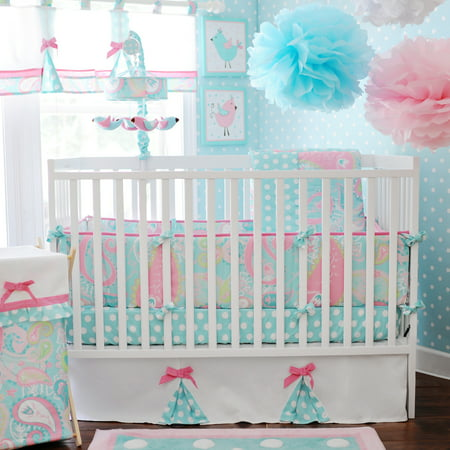 My Baby Sam Pixie Baby 3 Piece Crib Bedding Set, Aqua](Panda Bear Baby Bedding)