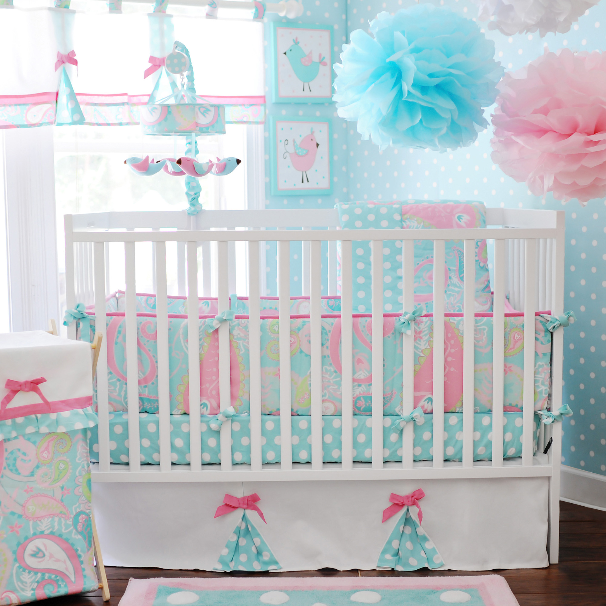 My Baby Sam Pixie Baby 3 Piece Crib Bedding Set, Aqua