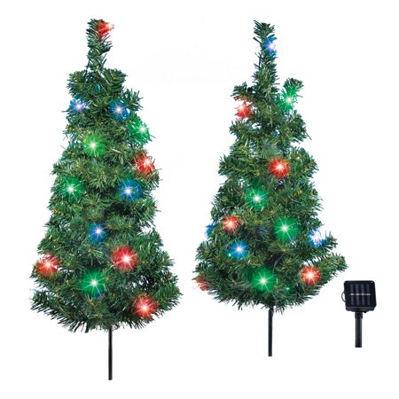 Solar Christmas Trees Outdoor Garden Stake Set With Multicolor Lights Automatic Light Up Decoration