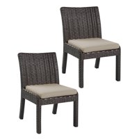 Emerald Home Metro II Spectrum Sand and Bark Brown Outdoor Dining Chair with All Weather Wicker And Sunbrella Cushion, Set of Two
