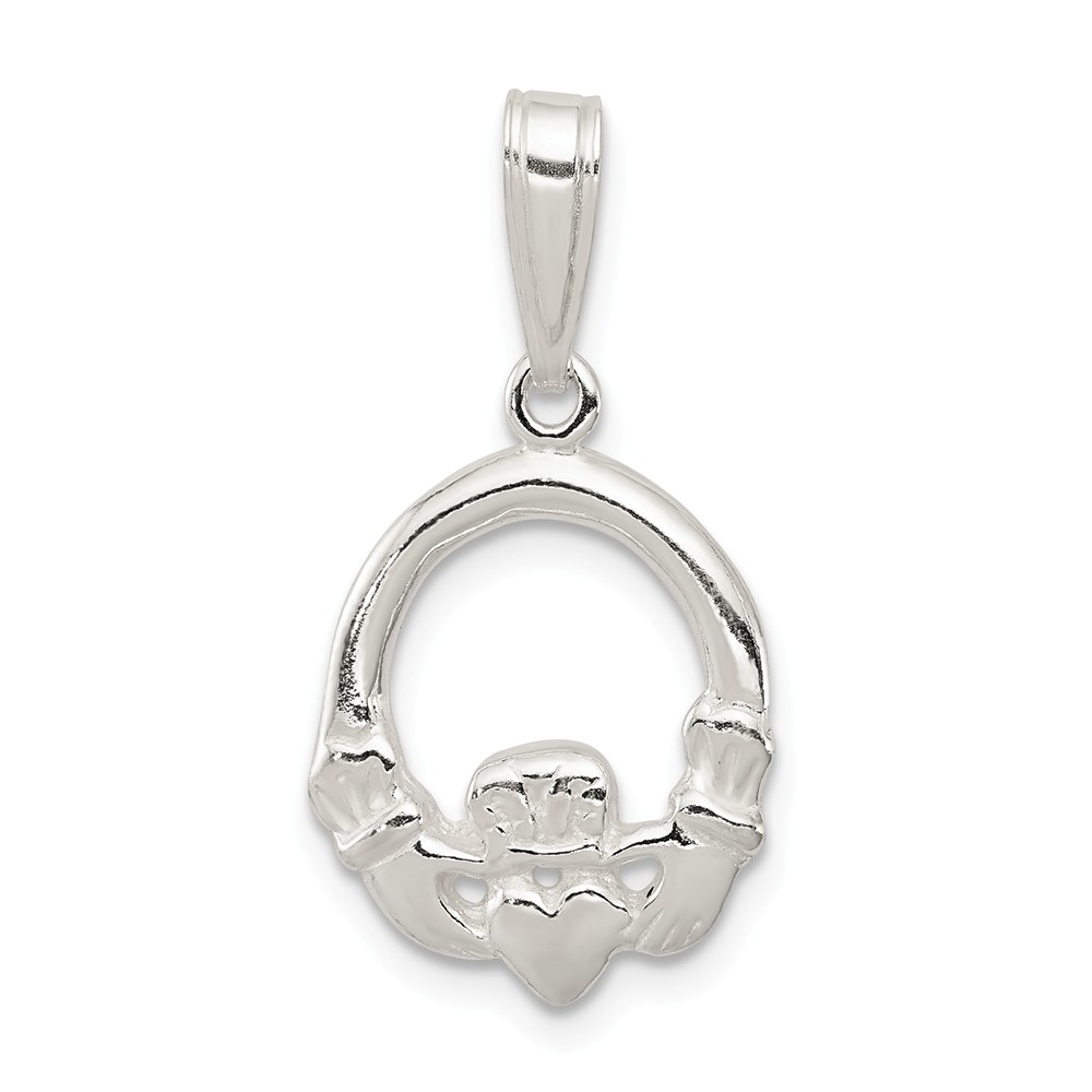 Sterling Silver Claddagh Charm (1in long x 0.6in wide)