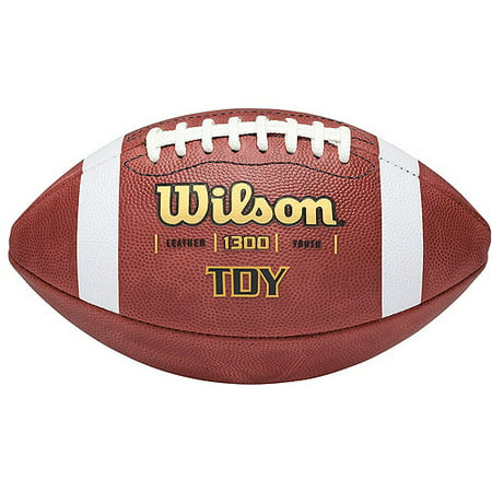 All Weather Leather Football - Wilson TDY Youth Leather Football With Grip Stripes