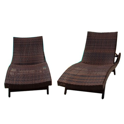 Wicker Multi-brown Outdoor Adjustable Lounges and Nesting Tables