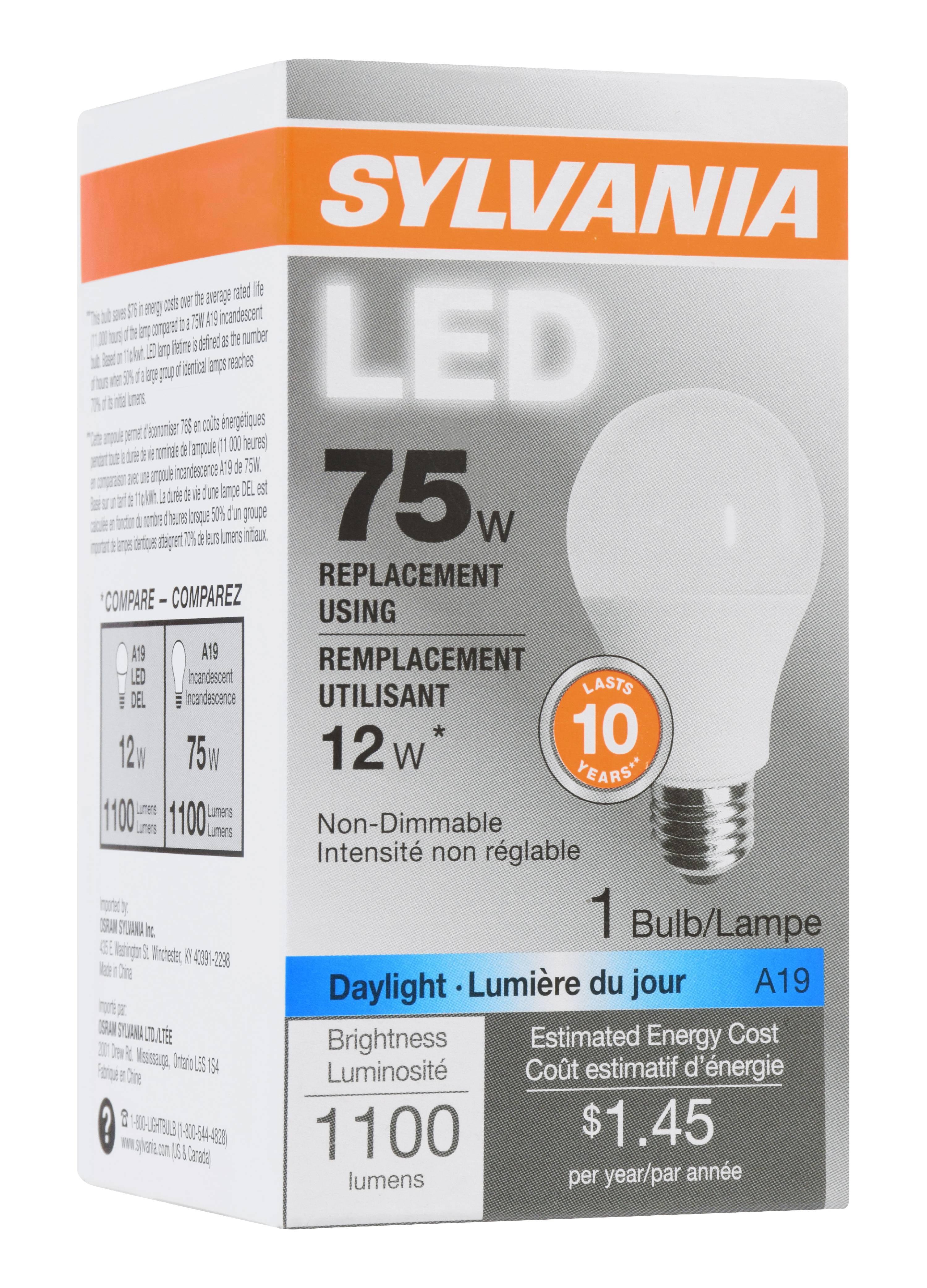 Led Light Bulb Daylight: Sylvania LED Light Bulb, 12W (75W Equivalent), Daylight, 1
