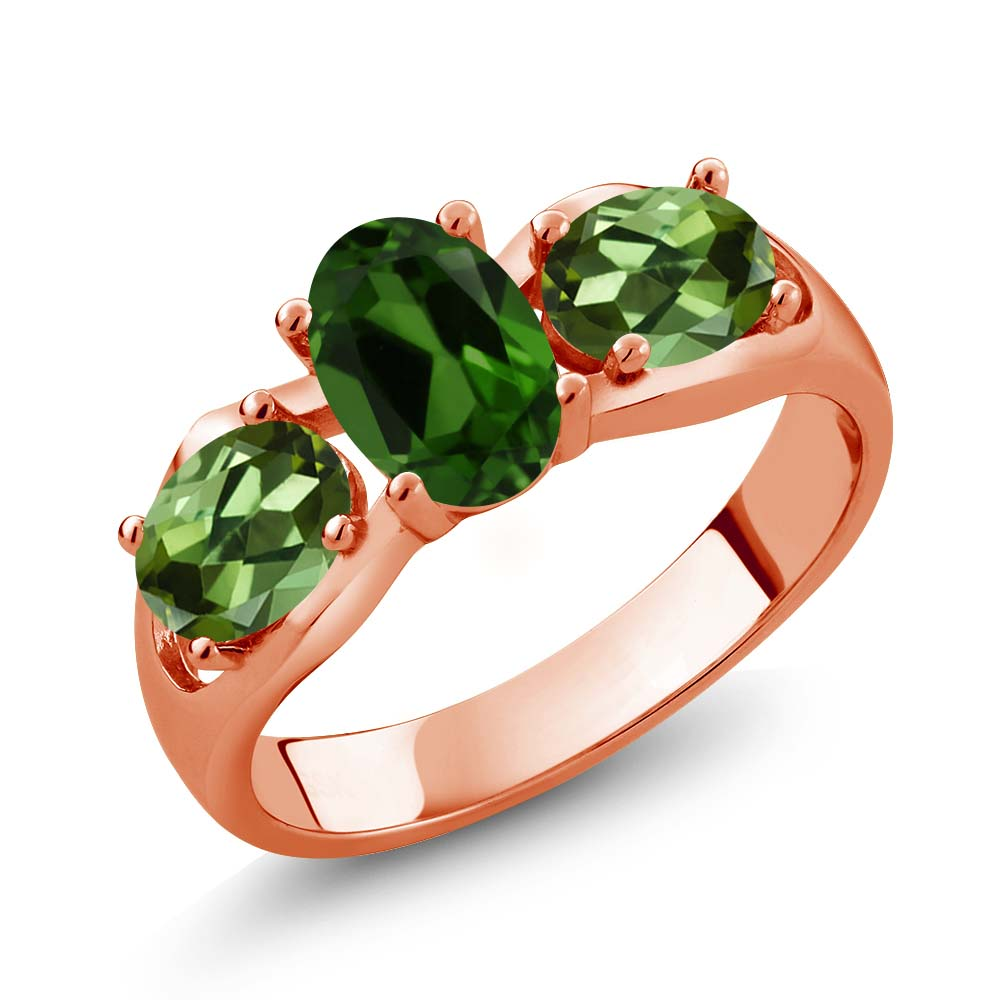1.80 Ct Oval Green Chrome Diopside Green Tourmaline 14K Rose Gold Ring by