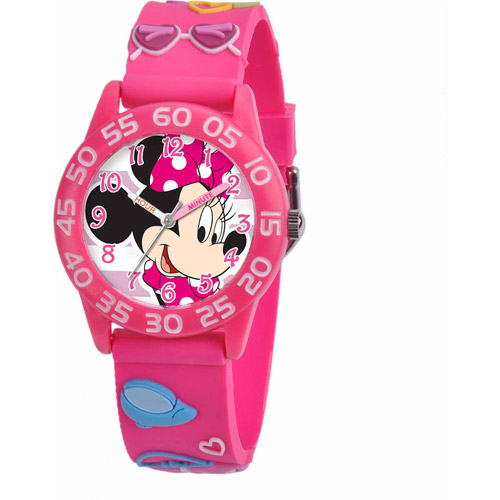Disney Minnie Mouse Girls' 3D Plastic Watch, Pink Strap