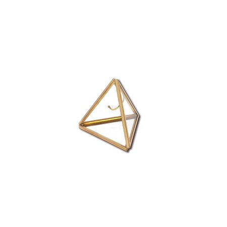 Ring Boxes Wholesale (Koyal Wholesale Geometric Glass Ring Box, Gold Triangular Pyramid Ring Holder, Wedding Ring Bearer Glass Gift)