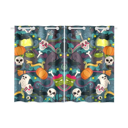 MYPOP Colorful Doodle Cartoon Halloween Theme Window Curtain Kitchen Curtain 26x39 inches (Two Piece)
