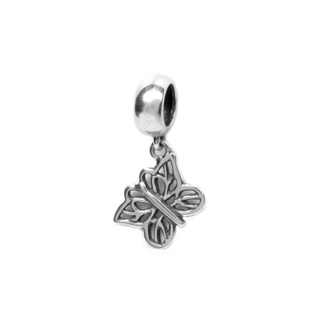 Queenberry Sterling Silver Filigree Butterfly Dangle European Style Bead Charm Fits Pandora