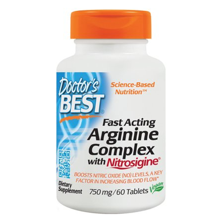 Doctor's Best Fast Acting Arginine Complex with Nitrosigine, Non-GMO, Vegan, Gluten Free, 750 mg, 60 (Best Supplements For Intermittent Fasting)