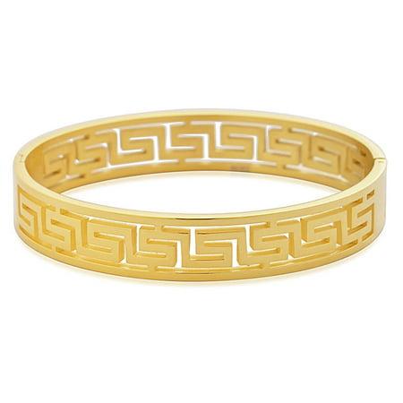 Greek Design Bracelet - Edforce Stainless Steel Women's Greek Pattern Oval Cutout Hinged Bangle Bracelet (Gold)