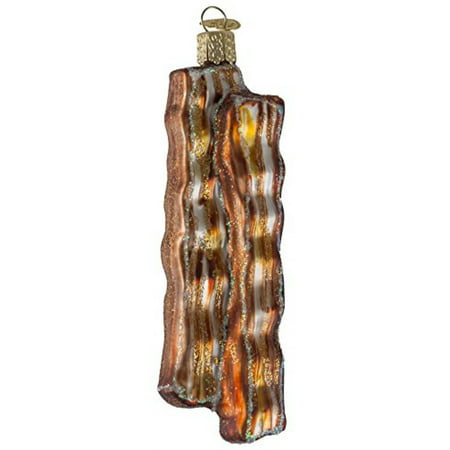 Old World Christmas - Bacon Strips Ornament - Hand Painted Blown Glass - For Fake and Real Trees - Makes a Great Gift - - Glass Hand Painted Xmas Ornament