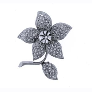 Platinum-Plated Swarovski Crystal Flower Brooch   Pin (1 2 x 2) Gift Boxed by