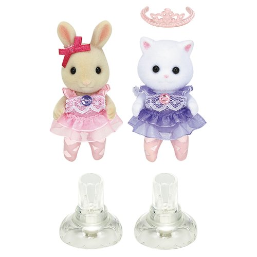 Calico Critters Ballerina Friends Rebecca Sweetpea Rabbit and Nora Persian Cat