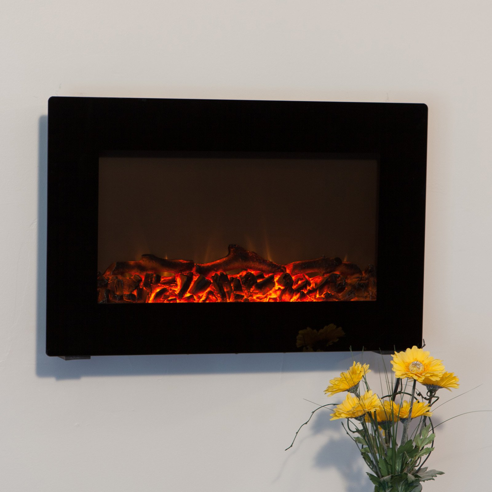fire sense black wall mounted electric fireplace  walmartcom -
