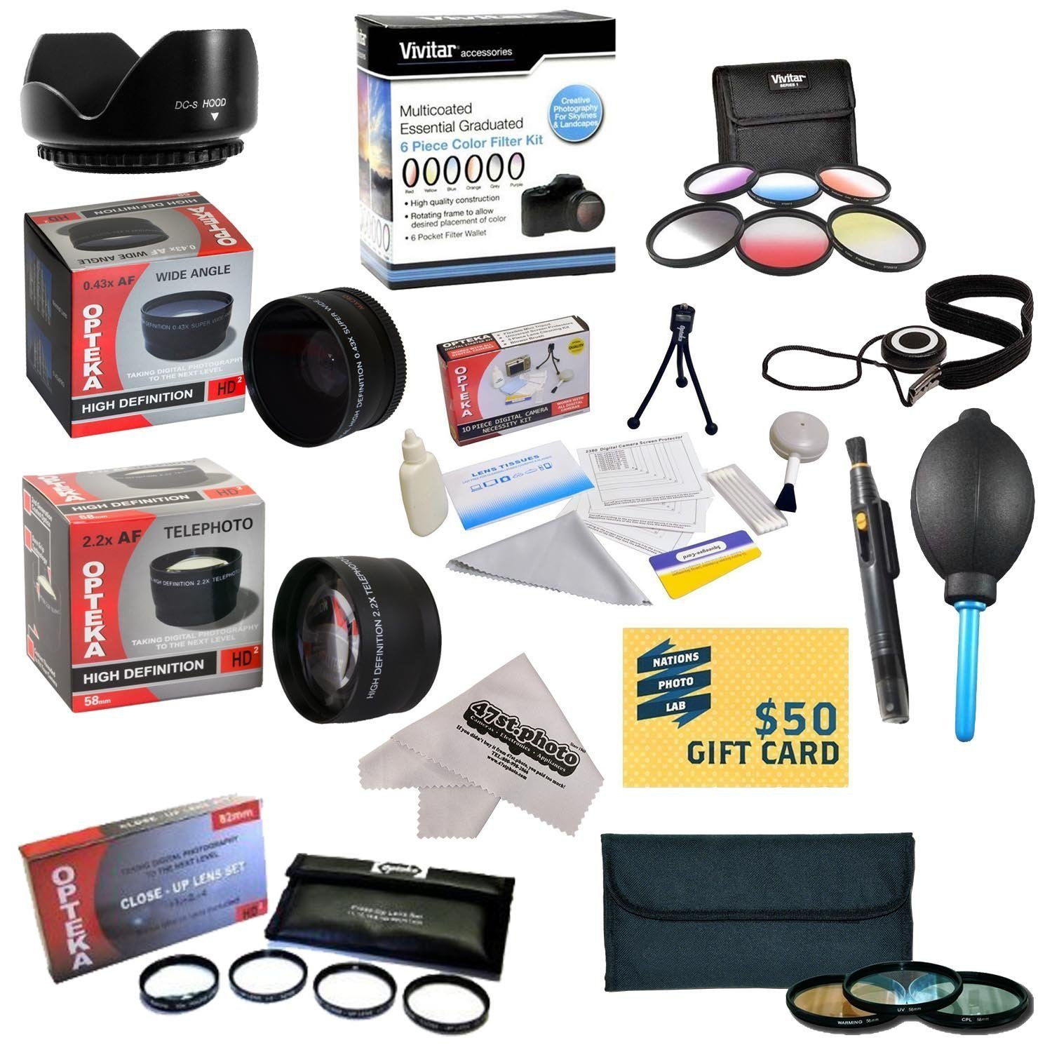 CANON EOS REBEL T5I T4I SL1 T3 T3i 60D XS i XT XTI XS 15 Piece Kit with 0.20X Super Wide Angle Fisheye lens, 5 PC Close-Up Set, 2.2x Telephoto Lens, 3 Piece Filter Kit, Microfiber Cloth, $50 Gift Card