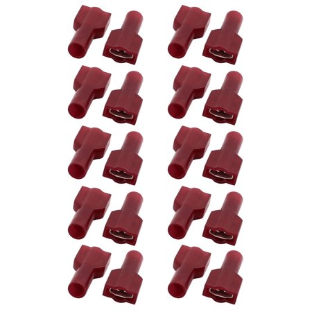 20Pcs Crimp Terminals Spade Female Nylon Fully Insulated Wire Connectors Red 6 Nylon Spade Terminals