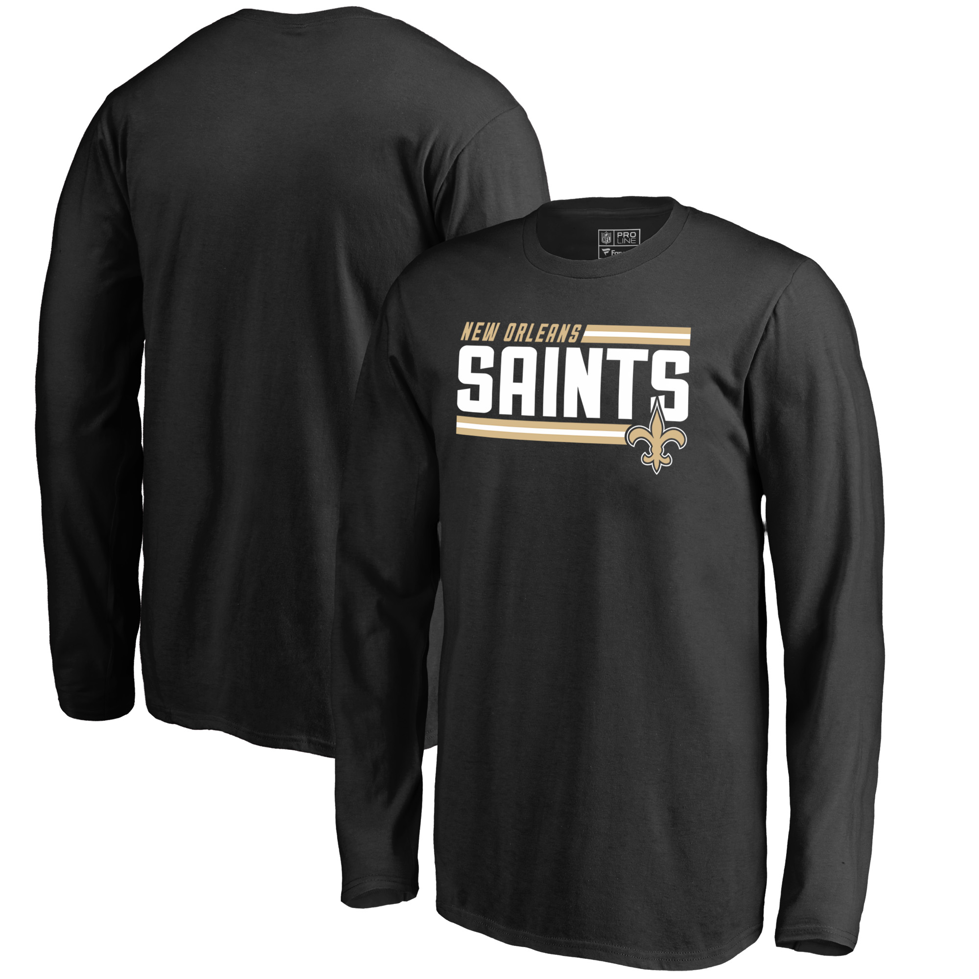 New Orleans Saints NFL Pro Line by Fanatics Branded Youth Iconic Collection On Side Stripe Long Sleeve T-Shirt - Black