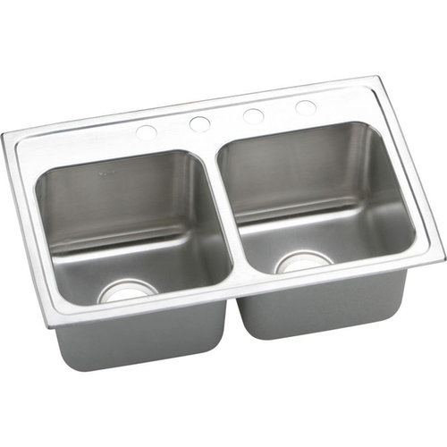 Elkay DLR2918104 Gourmet Lustertone Stainless Steel Double Bowl Top Mount Sink with 4 Faucet Holes