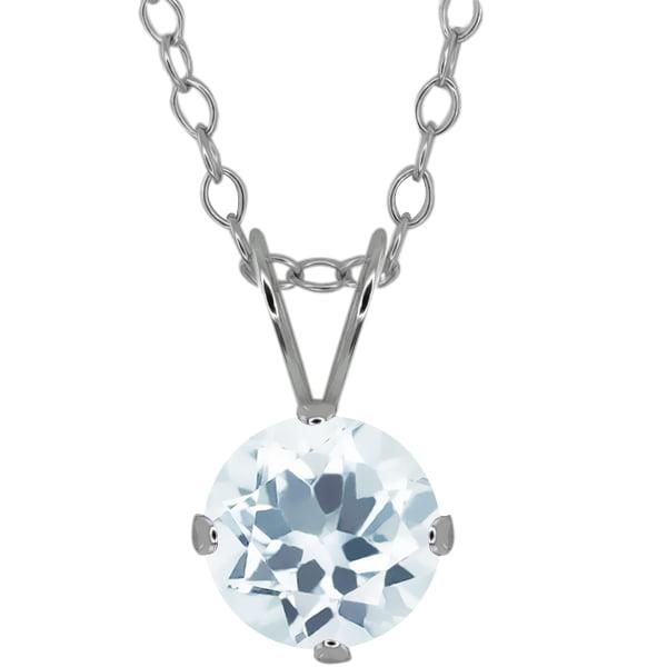 "0.75 Ct Round Shape Sky Blue Aquamarine Sterling Solitaire Pendant 18"" Chain"