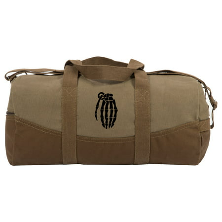 """Skeleton Hand Grenade Two Tone Brown 19"""" Duffle Bag with Detachable"""