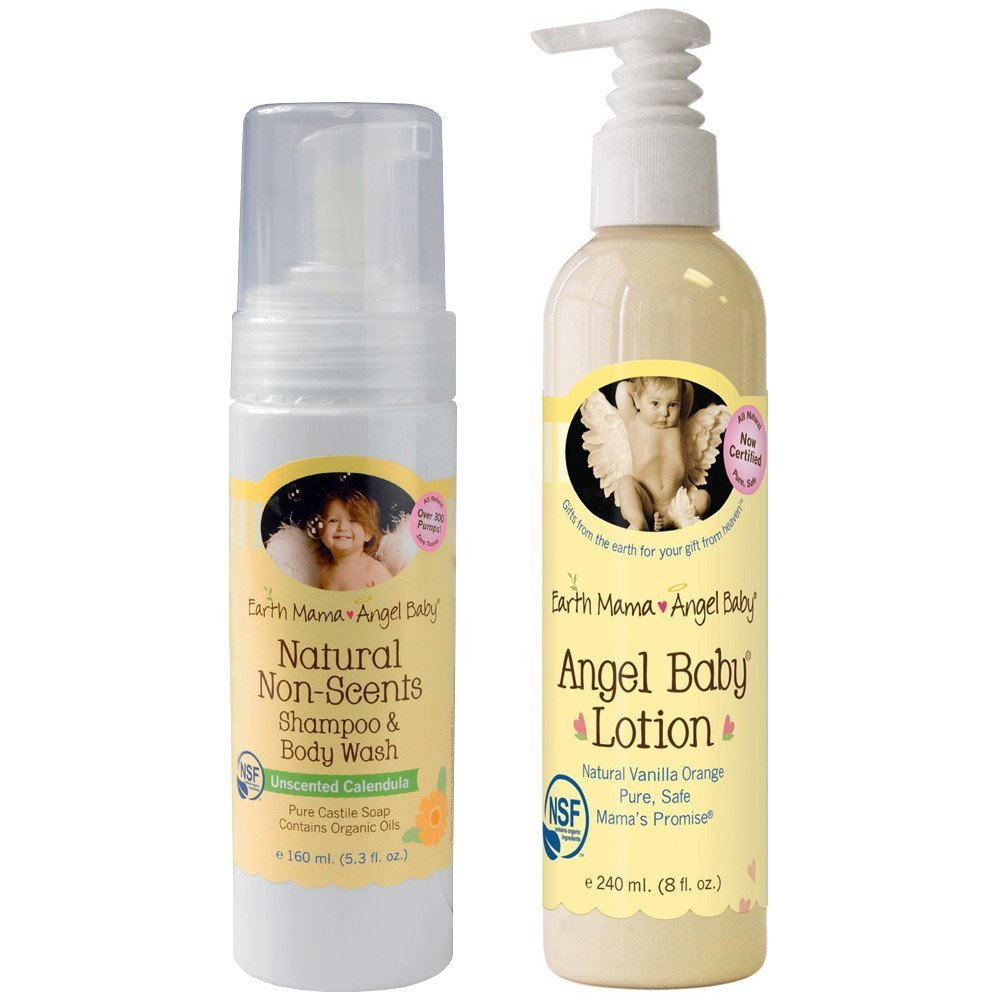 Earth Mama Angel Baby Non-Scented Shampoo and Body Wash with Body Lotion by Earth Mama