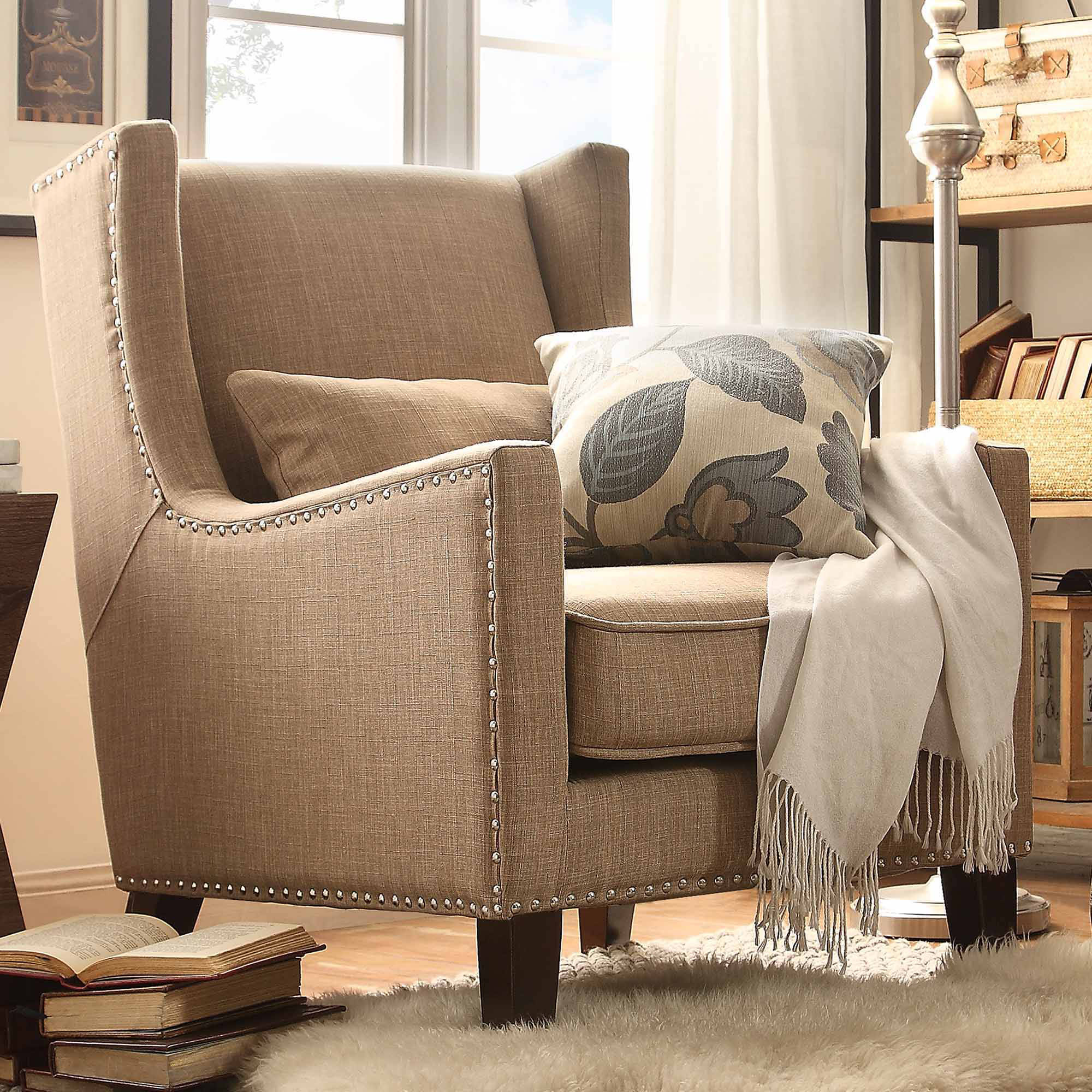 Weston Home St Alden Living Room Linen Accent Chair With Matching Throw Pillow, Multiple Colors