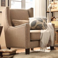 Weston Home St Alden Living Room Linen Accent Chair With Matching Throw Pillow Multiple Colors