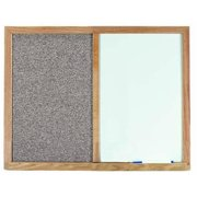 Aarco Products FCO1824H Oak Frame Combination Beige Fabric Tack Board - 18 H x 24 W in.