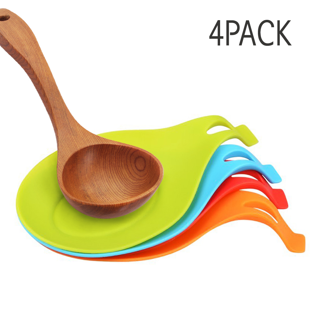 Eutuxia Silicone Spoon Rest Set, Multipurpose Kitchen Utensil. Spatula & Ladle Holder with Hanging Hole for Convenient Storage. Colorful, Heat Resistant, BPA Free, Non-Toxic & Dishwasher Safe. [4 PK]