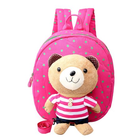 Kids Backpack Anti-lost School Bag with A Leash & Removable Cartoon Bear with Stripe Pattern Light Children Shoulder Bag (Rose Red)