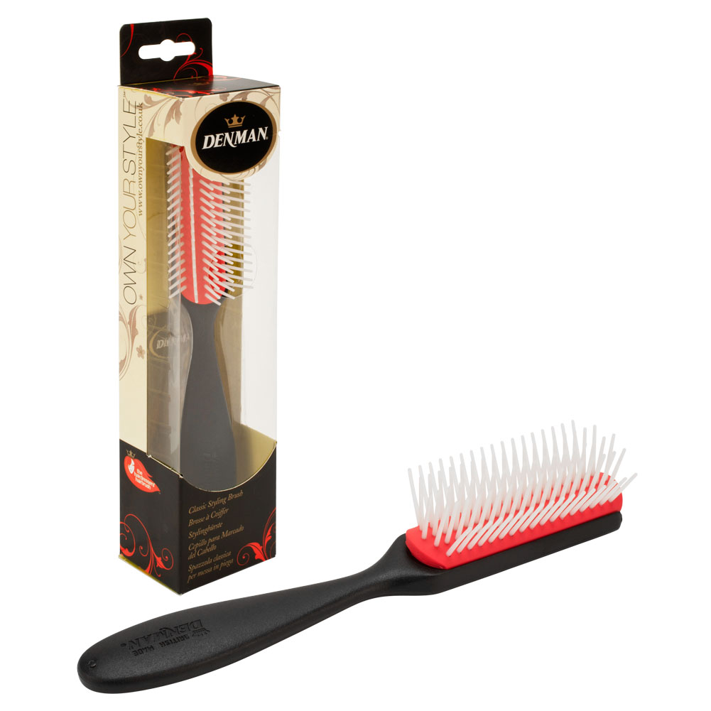 "Denman 8"" Classic 5-Row Rubber Pad Hair Styling Brush, BLACK, T143SBLK"