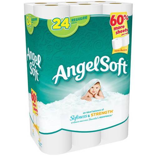 Angel Soft Toilet Paper 24 Regular Rolls 2 Ply Bath Super