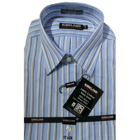 e897468c4f2 Kirkland Signature - Kirkland Signature Mens Spread Collar Extra Long  Length Dress Shirts (Blue Stripe