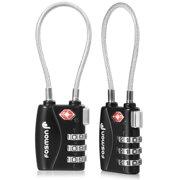 Fosmon [2 Pack] Luggage Locks, TSA Approved 3 Digit Combination Resettable Padlocks for Travel Suitcase - Black