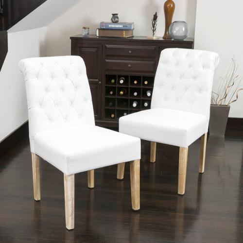 Cerreto Tufted White Fabric Dining Chair with Roll Top (Set of 2)