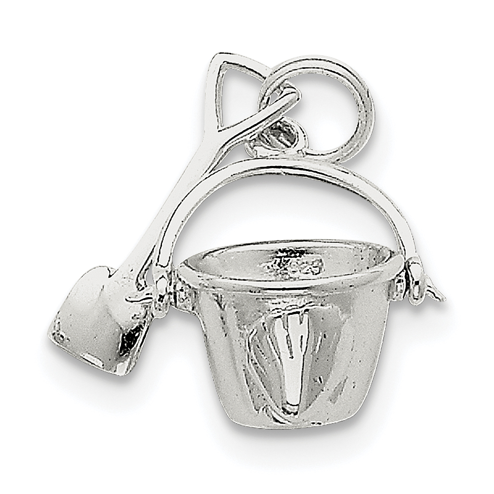 925 Sterling Silver Shovel Pail Pendant Charm Necklace Sea Shore Beach Life Fine Jewelry Gifts For Women For Her - image 2 de 2