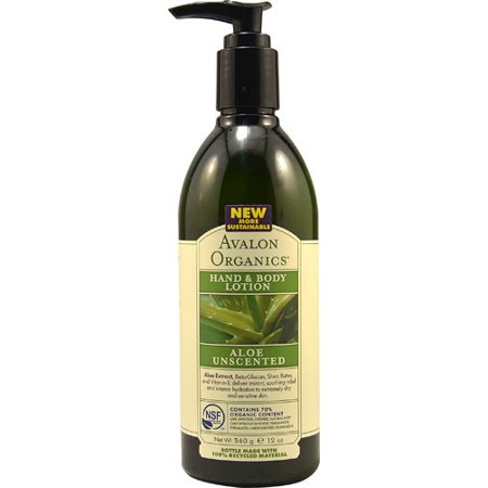 Avalon Organics Hand and Body Lotion, Aloe Unscented, 12 Fl Oz