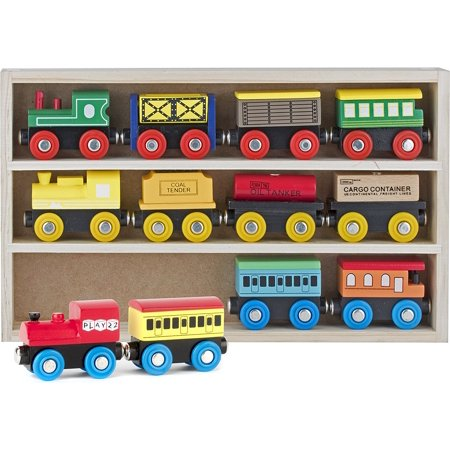 Wooden Train Set 12 PCS - Train Toys Magnetic Set Includes 3 Engines - Toy Train Sets For Kids Toddler Boys And Girls - Compatible With Thomas Train Set Tracks - Girl Train Table