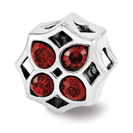 Sterling Silver with Red Swarovski Crystals Lattice Flower Bead Charm Crystal Flower Slide Charm