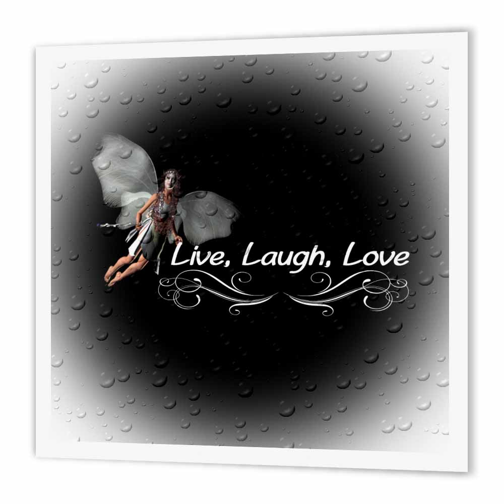 3dRose Live Laugh Love, Iron On Heat Transfer, 6 by 6-inch, For White Material