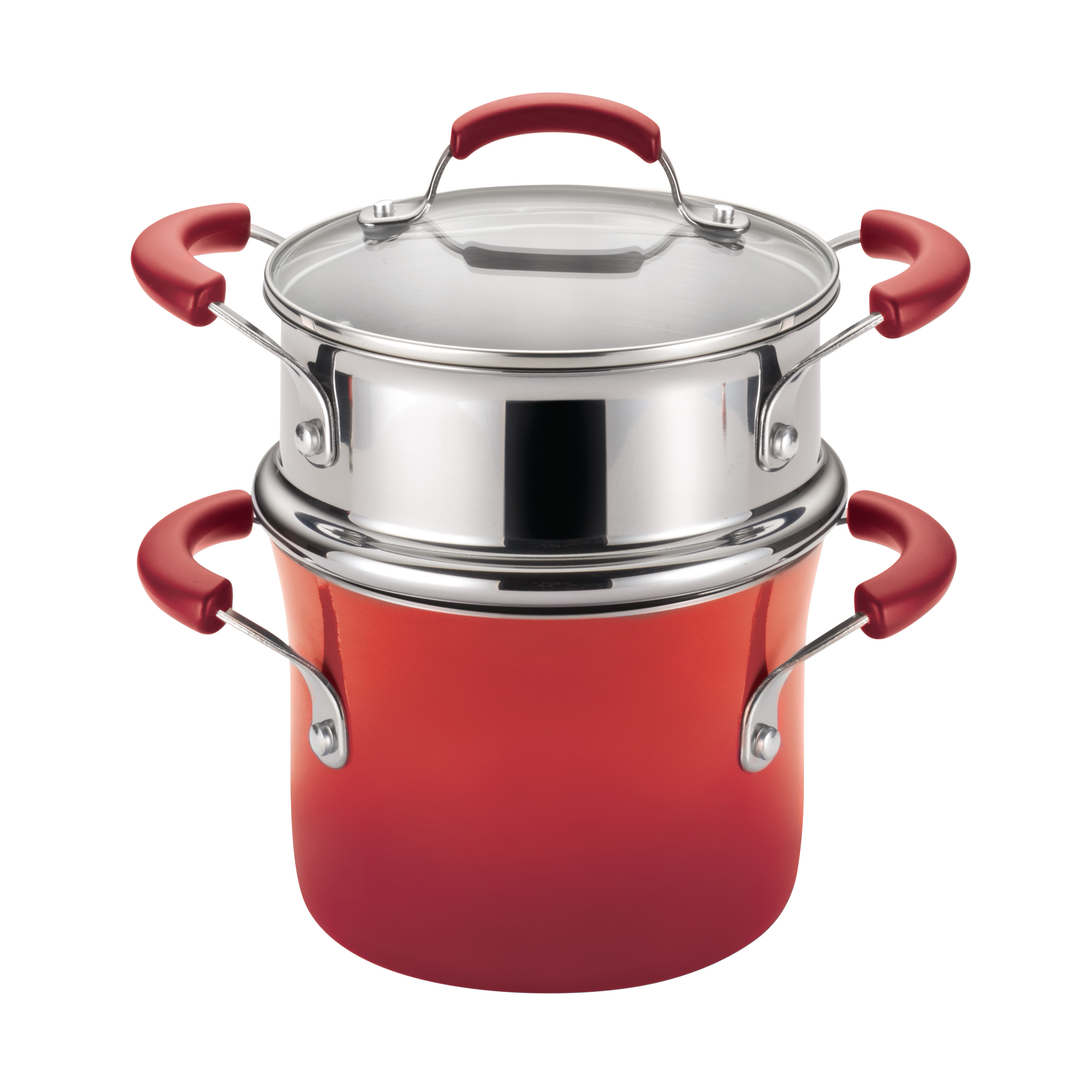 Rachael Ray Hard Enamel Nonstick 3-Quart Covered Steamer Set, Red Gradient