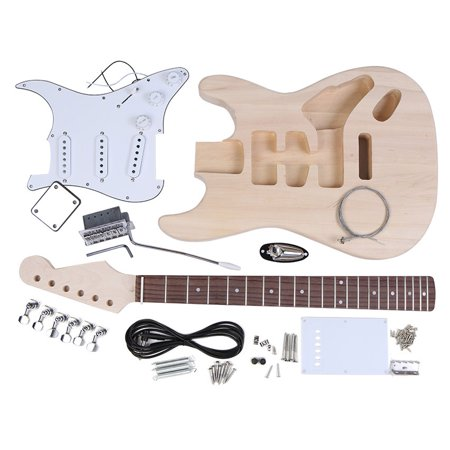 KKmoom ST Style Electric Guitar Basswood Body Maple Neck Rosewood Fingerboard DIY Kit Set (Maple Guitar Neck)