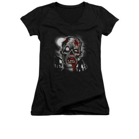 Junior Faces - Walking Dead Zombie Face Close Up Junior V-Neck T-Shirt Tee