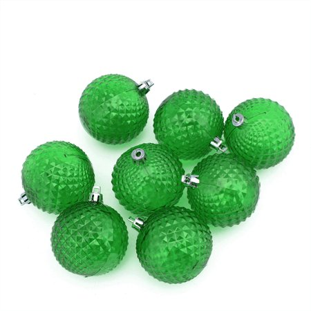 8ct Xmas Green Transparent Diamond Cut Shatterproof Christmas Ball Ornaments 2.5