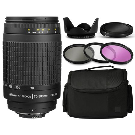Nikon AF Zoom-NIKKOR 70-300mm f/4-5.6G Manual Focus Lens 1928 with Deluxe Accessories Bundle Package includes 3 Filters (UV-CPL-FLD) + Flower Tulip Hood + Extra Lens Cap Cover + Large Padded